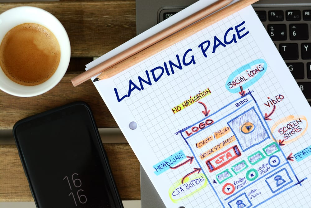 Landing Page graph paper with laptop and coffee